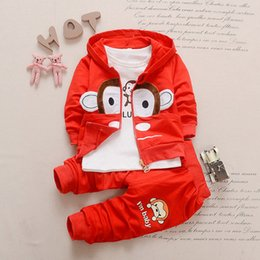 Wholesale Toddler Monkey Clothes - Toddler Boys Clothing Sets 2017 Autumn Kids Clothes Cartoon Monkey Hooded Coat Long Sleeve Shirt Pants Children Clothing Z21