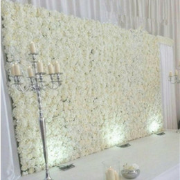 Wholesale Bouquet Flowers - 10pcs lot 60X40CM Romantic Artificial Rose Hydrangea Flower Wall for Wedding Party Stage and Backdrop Decoration Many colors