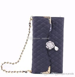 Wholesale Handbag Case For Note2 - Flip Wallet Leather Pouch Cases for Samsung Galaxy S3 S4 S5 Note2 3 4 Cover with Deluxe Diamond Flower Girls' Handbag with Card Slots