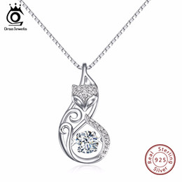Wholesale Movable Plate - Orsa Jewels Cute 925 Silver Fox Pedant Necklaces Insert 1ct Movable Charm Cubic Zirconia Sterling Silver Necklace Jewelry Sn53