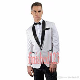 Wholesale Gray Wool Jacket High Collar - Wholesale - 2017 2016 High Quality One Button White Groom Tuxedos Shawl Collar Groomsmen Best Man Wedding Prom Dinner Suits (Jacket+Pants+Gi