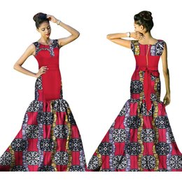 Wholesale Night Clothes For Women - New African Dresses for Women Bazin Riche 2017 Fashion Elegant Patchwork Mermaid Vestidos Dresses Ankara African Clothes WY1535