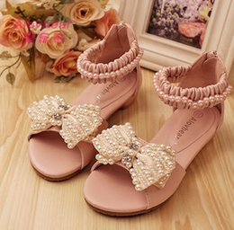 Wholesale Cute Heels Bows - Baby Girls Sandals Cute Pearls Bows Baby Sandals Princess Girls Sandals Children princess Shoes Leather 2CM High Heel Party shoes 6136