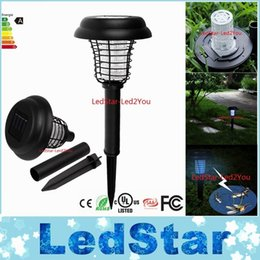 Wholesale Uv Free Lighting - High Quality Solar LED UV Lamp Light Bug Zapper Pest Insect Mosquito Killer For Garden Yard DHL Free Shipping