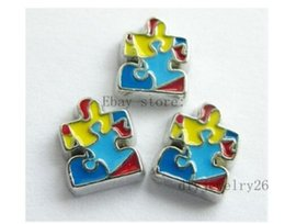 Wholesale Living Lockets Charms Wholesale - 10PCS Autism awareness Floating Charms Fits For Glass Living Memory Locket FC154