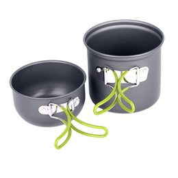 camping cooking tools Promo Codes - Wholesale-Cooking Picnic Cookware Bowl Pot Set Outdoor Backpacking Camping Tool Kit free shipping