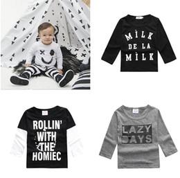 Wholesale Cotton Long Underwear Shirts Wholesale - 2016 Newborns Autumn Toddler T Shirts Winter Baby Letter Cotton Underwear Infants Girls Boys Smiling Face Shirts Tops