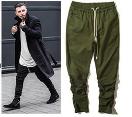 Wholesale Zipper Hip Hop Harem Trouser - 2017 kanye men sport hip hop pants side zippers joggers mens casual fear of god jogging harem pants trousers pantalon homme