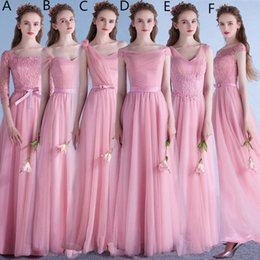 Wholesale Mixed Order Bridesmaid Dress Coral - Tulle A Line Bridesmaid Dresses Long 2018 New Wedding Guest Dresses Lace Up Formal Dresses Mixed Order