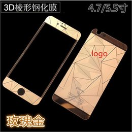 Wholesale Color Glass Diamond - for Iphone7 7Plus 6g 5s Colorful 3D Diamond Design Mirror Effect Color Tempered Glass Screen Protector Front Plus Back With retail package