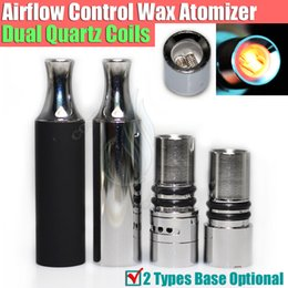 Wholesale Electronic Cigarette Skillet - New Airflow control wax atomizer Replacement Dual Quartz Coils Herbal vaporizers Dry herb vaporizer pen electronic cigarettes skillet Tank