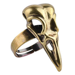 Wholesale Wholesale Animal Skulls - Bird Skull Ring For Men Punk Style Jewelry Unisex Adjustable Cool Bird Crow Head Skeleton Ring Wholesales High Quality gothic rings men