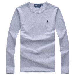 Wholesale Lauren Black - Fashion Brand men polos shirts Lauren Men t-shirts polo Round neck Long sleeves t shirt polo t-shirt Tops Tees