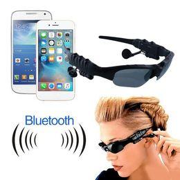 Wholesale Telephone Headset Bluetooth - 50pcs lot DHL Sports Stereo Wireless Bluetooth 4.0 Headset Telephone Polarized Driving Sunglasses mp3 Riding Eyes Glasses free shipping
