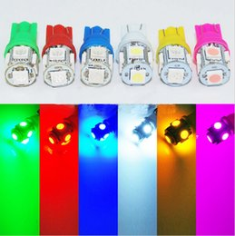 Wholesale Red Reverse Lights - 10pcs lot T10 12V Colorful 5 SMD 5050 LED 194 168 W5W Car Side Wedge Tail Light Lamp License Plate Bulb Red Blue White Green pink car lights