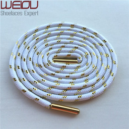 Wholesale Hotel Matches - Weiou Sports colored boot laces fashion metallic gold shoelaces white round shoelaces all match trainer laces125cm 49''