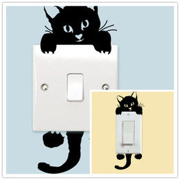 Wholesale Removable Wall Decals Cats - Wall Decor Cat Wall Stickers Light Switch Decor Art Mural Nursery Room Decorations Wallpapers For Childrens Rooms Princess Wall Decals
