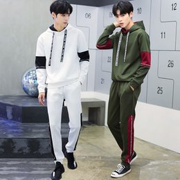 Wholesale Mens Green Cotton Jacket - New Fall spring new men's pullover sweater T-shirt +pants fashion casual sportswear men suit jacket mens tracksuits sport suits