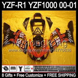 Yamaha r1 naranja negro online-8Regalos + carenado para YAMAHA Repsol YZF-R1 R1 00-01 YZFR1 YZF1000 Y99260 YZF R 1 YZF 1000 2000 2001 Naranja rojo negro YZF R1 00 01 Kit de carrocería
