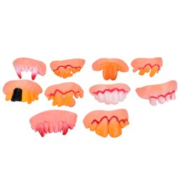 Wholesale Denture Funny - Wholesale- 1pcs Hot Sale Fast Shipping Funny Tricks Party Property Game Toy Halloween Ugly Denture False Rotten Teeth Model Prank Hoax Toys