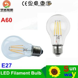 Wholesale Dimmable Led Candle Bulb 3w - A60 LED Filament Bulb Classic Edsion Led Bulb Edison Type A19 Dimmable Filament Led Bulb Light 2W 4W 6W 8W E27 Bulbs AC85~265V
