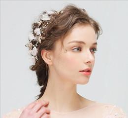 Wholesale Handmade Ribbon Headbands - New Handmade Wedding Bridal Prom Women Gold Headband Crowns Bling flower Hair Accessories Tiara Ms Evening Hair Jewelry silk flower hairband