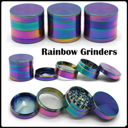 Wholesale Rainbow Shipping - Rainbow Grinders Ice Grinder Zinc Alloy Metal Grinders 40 50 55 63mm Diameter 4 Parts Herb Grinders Herb Crushers Fast Shipping
