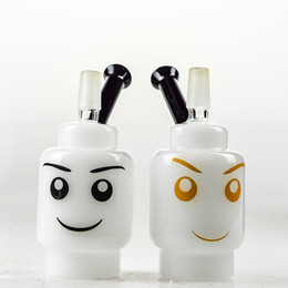 "Wholesale Faces Smile - Smiling Face 4"" inch Glass Oil Rigs White Jade Dabber Bongs Water Pipes Black Neck Thick Glass Rigs Cool Designed Glass Hookah Shisha"