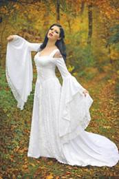 Wholesale fancy dress corsets - Medieval Vintage Lace Gothic Wedding Dresses 2016 Fancy Robe de Mariage Ruffle Corset Ruffles Graden Long Sleeve Fancy Bridal Gowns