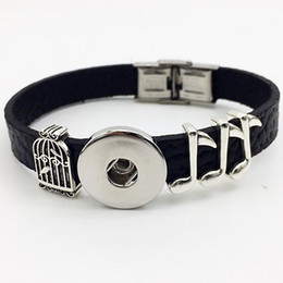 Wholesale Bracelet Directions - Fashion Real Rushed Pave Setting One Direction Bracelet Watch Music Retro Leather Snap Button Bracelet Bt103 ( Fit 18mm 20mm Snaps) party dr