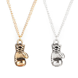 Wholesale Mini Boxing Gloves Wholesale - 2016 Newest Gold Silver Color Fashion Lovely Mini Boxing Gloves Necklaces Boxing Match Jewelry Cool Pendant For Men Boys Olympic Sport