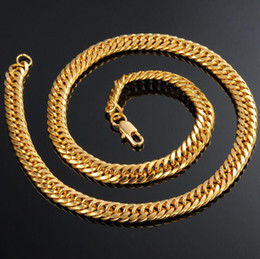 Wholesale 18k Solid Gold Figaro Chain - REAL 18K YELLOW GOLD FILLED MEN'S NECKLACE AND BRACELET Solid CURB CHAINS GF JEWELRY WIDE MEN'S JEWELRY