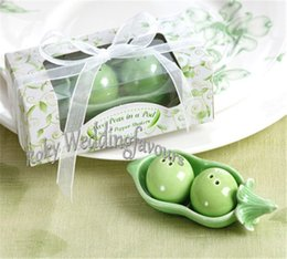 Wholesale Green Bridal Shower - FREE SHIPPING 50sets 2Peas in a Pod Ceramic Salt & Pepper Shakers in Gift Box Wedding Favors Bridal Shower Party Table Decor Supplies