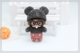 Wholesale Stylish Pendants For Men - New Arrival Super Cute Bling Monchhichi Mickey Stylish Keychain Pearlchain Jewelry For Bag Pendant Accessory Cartoon Fan Product