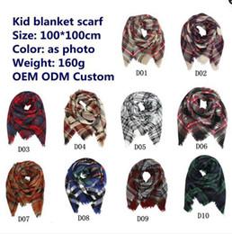 Wholesale baby neckerchiefs - Kids Plaid Blanket Scarves Tartan lattice Tassels Scarf Fashion Warm Neckerchief Autumn Winter Baby Scarf Shawl C2686