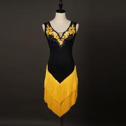 Wholesale Latin Dance Competition Dress Black - New Latin Dance Dress Rumba Tang Chacha Ballroom Group Black Tassel Competition Rhinestones Dance Dress T34