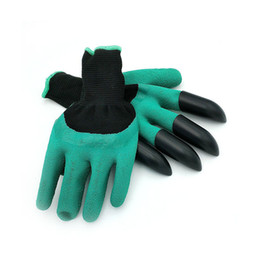 Wholesale Latex Work Gloves Wholesale - 5 pair Hot sale Rubber Garden Gloves with 4 ABS Plastic Fingertips Claws for Gardening Raking Digging Planting Latex Work Glove