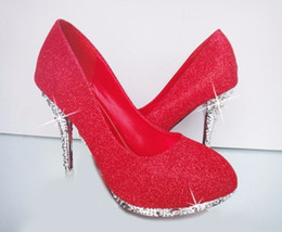 Pompe di glitter sexy online-Scarpe da sposa glitter Scarpe da sera da sposa Crystal Bottom rosso Bottom Tacchi alti Scarpe da donna Scarpe da donna Scarpe da sposa