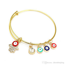Wholesale Evil Eye Rhinestone Bracelet - Wholesale New fashion Hamsa Hand Evil Eye Gold color Bracelet Bangles Expandable Jewelry For Women free shipping