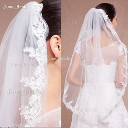 Wholesale Veil Styles - Elegant Bridal Veil Fingertip Length Lace One Layer Wedding Hair Accessory with Comb New Style White Ivory High Quality Factory Custom Made