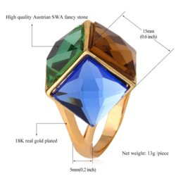 Wholesale Fancy Cocktail Party - Big Crystal Ring For Women Christmas Gift 2015 New Trendy 18K Real Gold Plated Colorful Fancy Stone Party Cocktail Ring IR487