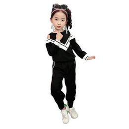Wholesale Autumn Material - Autumn Kids Girl Traing Sets V-neck Shoulder Off 100% Cotton Material Children Long Sleeve Sport Clothing Sets Black White