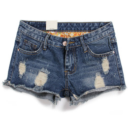 Wholesale Womens Animal Print - Wholesale-2016 New skinny Jean Shorts Womens Casual Stretch Rolled Cuffs Jean Denim Shorts,Vintage Shorts size S-3XL