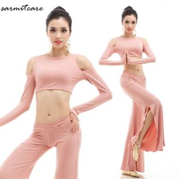 Wholesale Belly Dance Bottoms - D106 - 2pcs Pink Color Slashed Bottom Long Pants Yoga Belly Dance Competition Dresses Standard Dance Dresses Belly Dress Bellydance