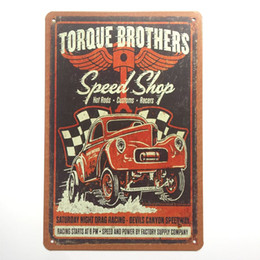 Wholesale Wholesale Man Cave - Speed Shop Hot Rods Customs Racers Retro Vintage Metal Tin sign poster for Man Cave Garage shabby chic wall sticker Cafe Bar home decor
