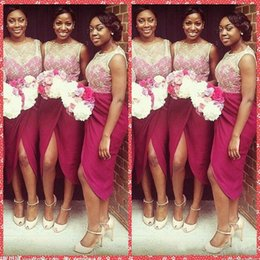 Wholesale Short Gold Prom Dresse - Embroidery Lace Bateau Neckline Water Melon Short Bridesmaid Dresse Split Front Sexy Party Dresses Sheath Sleeveless 2017 Short Prom Dresses