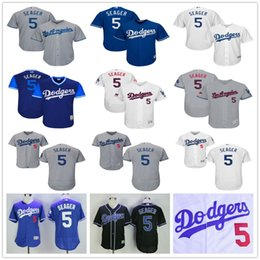 Wholesale Stripe Tops - Los Angeles Dodgers #5 Corey Seager LA Baseball Jerseys Black Grey White Blue Gray 2017 Stars & Stripes Free Shipping Top Quality on Sale