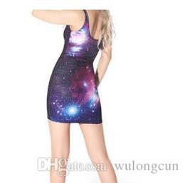 Wholesale Galaxy Chiffon - Wholesale Novetly Sexy 3D Galaxy Print Dress Casual Printed Women Dress Galaxy Space 3D Digital Print Vest Dress Evening Party Dress