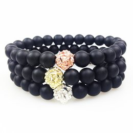 Wholesale Gold Black Onyx Bracelets - SN0353 Gold Rose Gold Silver Lion Head Bead Bracelet 8mm Matte Black Onyx Bead Bracelet Women Men Elastic Bracelet Stone Jewlery
