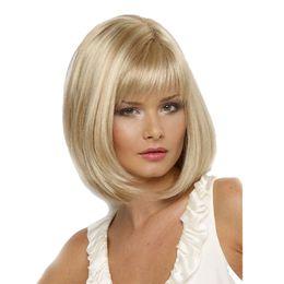 Wholesale High Temperature Fiber Wigs - WoodFestival short blonde wig high temperature straight hair wigs white women medium length fiber synthetic hair bob wig
